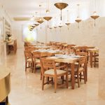 Restaurant with acoustic plaster ceiling