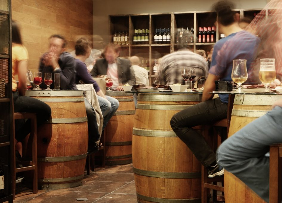 Wine bar full of customers